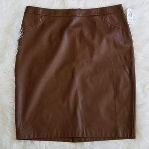 Dressbarn brown faux leather pencil skirt size 16